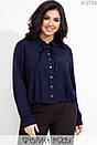 Женская шифоновая рубашка в больших размерах с бантом на воротнике 1blr607, фото 3