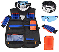 Боевой набор для игры игр с оружием Nerf: жилет, бафф, очки, 20 пуль, напульсник, магазин