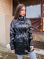 Жіноче шкіряне напівжіночі пальто з куліскою і кишенями на грудях 5mpa272