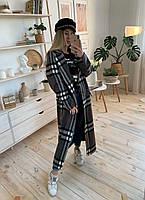 Довге жіноче Жіночі пальта в клітку з вовни 37mpa273