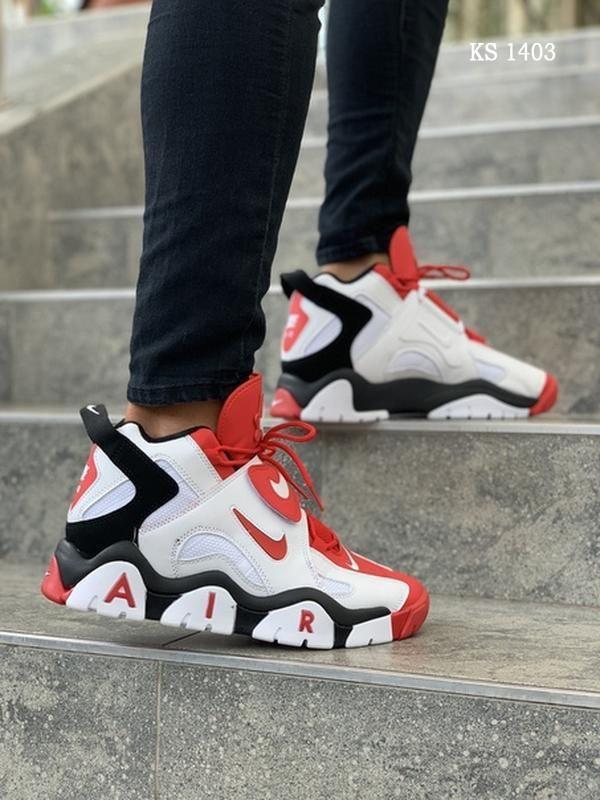 Мужские кроссовки Nike Air Barrage Mid (бело-красные) KS 1403