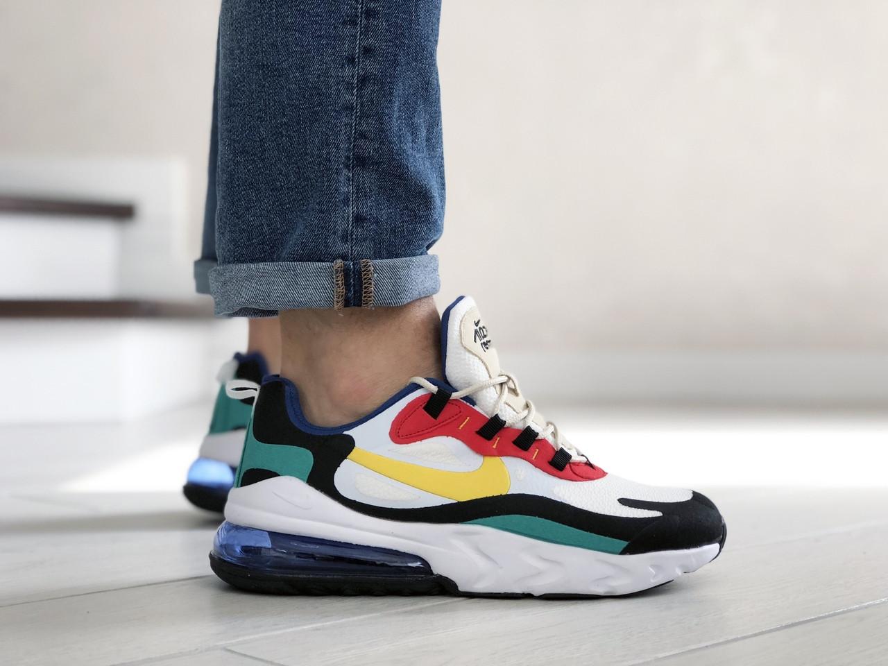 Мужские кроссовки Nike Air Max 270 React (бело-желтые с красным) 9143