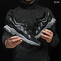Мужские кожаные кроссовки Adidas Ozweego (черные) KS 1400 РЕФЛЕКТИВ