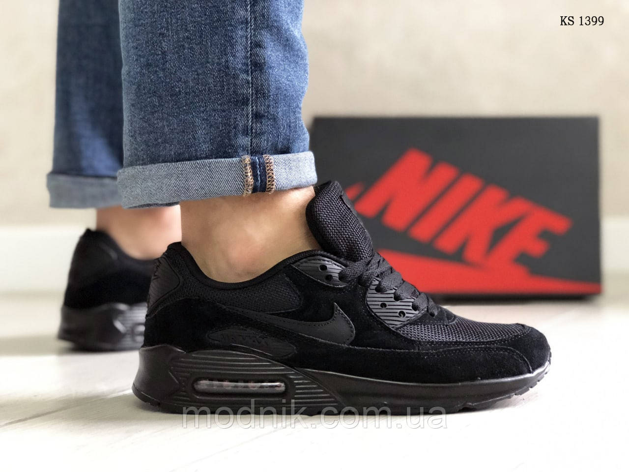 Мужские кроссовки Nike Air Max 90 (черные) KS 1399