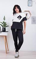 Женский летний спортивный костюм в больших размерах с футболкой и штанами на манжетах 83mbr622