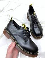 Женские кожаные туфли Dr. Martens, черные, код FN-26620