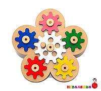 Заготовка для Бизиборда Механизм Цветочек с Шестеренками Цветные Шестерёнки дерев'яні шестерінки для Бізіборда
