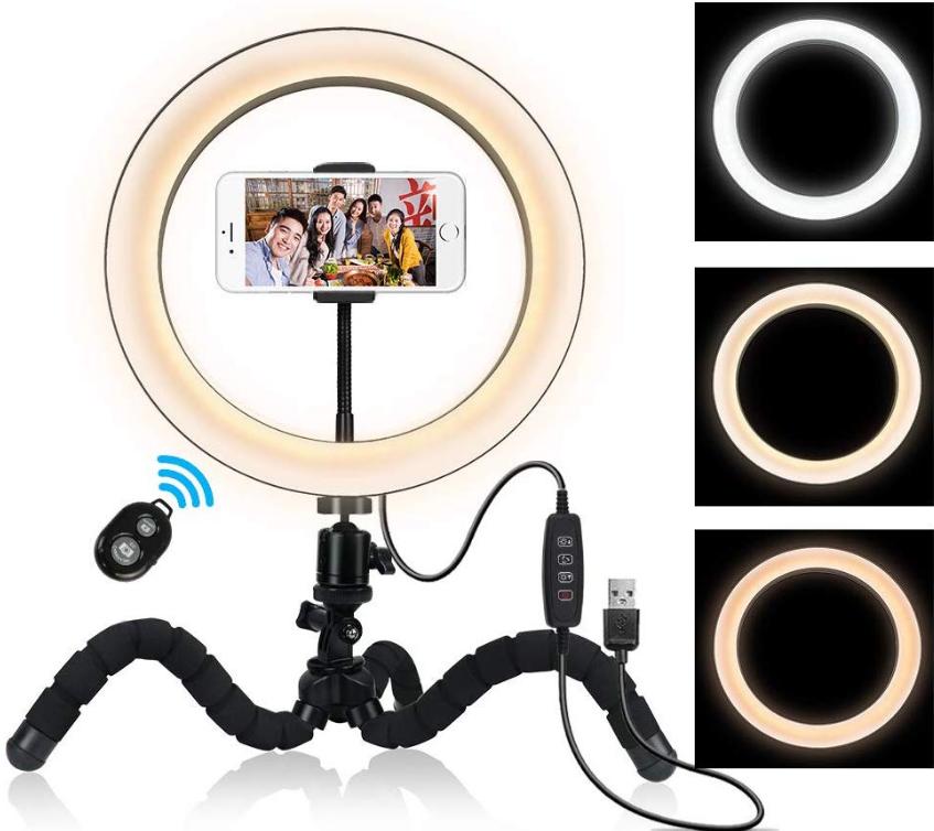 Кольцевая лампа для блогеров (26 см. диаметр кольца) с мини-штативом+ пульт для телефона
