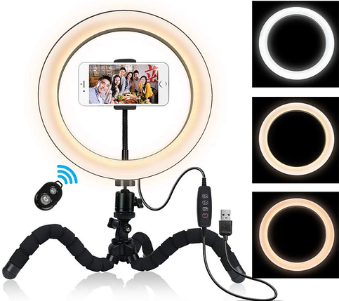 Кольцевая лампа для блогеров (26 см. диаметр кольца) с мини-штативом+ пульт для телефона, фото 2