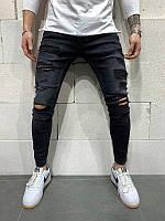 Мужские зауженные рваные джинсы (черные) - Турция (5156)