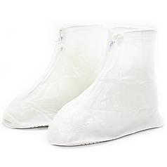 Гумові чохли-бахіли на взуття від дощу, бруду Lesko SB-101 білий р. 40/41 багаторазові