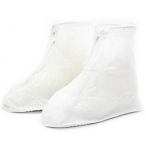 Резиновые чехлы-бахилы на обувь от дождя грязи Lesko SB-101 белый размер S многоразовые, фото 2