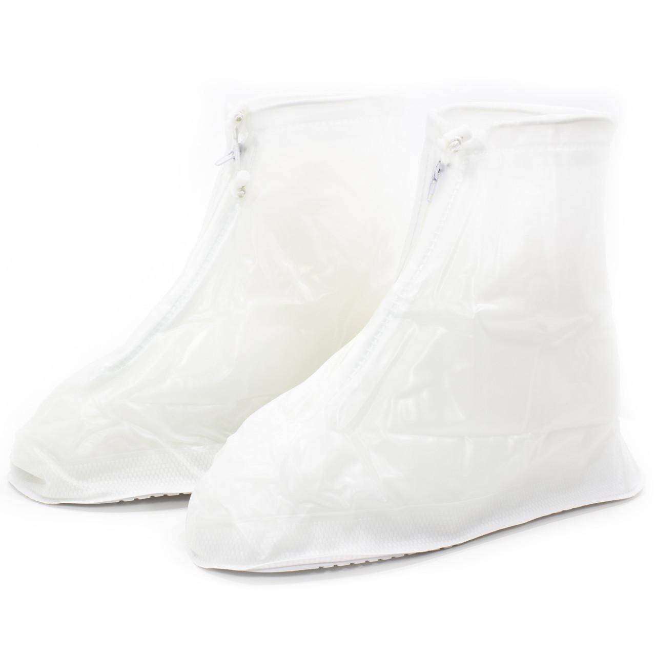 Резиновые чехлы-бахилы на обувь от дождя грязи Lesko SB-101 белый размер XL многоразовые