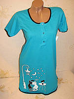 Женская ночная туника х/б для кормлящих мам, размер 40-42