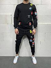 Мужской спортивный костюм с наклейками (черный) - Турция (5127)