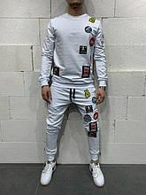 Мужской спортивный костюм с наклейками (белый) - Турция (5127)