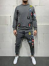 Мужской спортивный костюм с наклейками (серый) - Турция (5127)