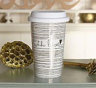 Чашка с крышкой золотая с Любовью керамика полоса 1020340-1П, фото 1