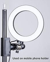 Кольцевая лампа для блогеров (12 см. диаметр кольца)+ прищепка для крепежа, фото 2