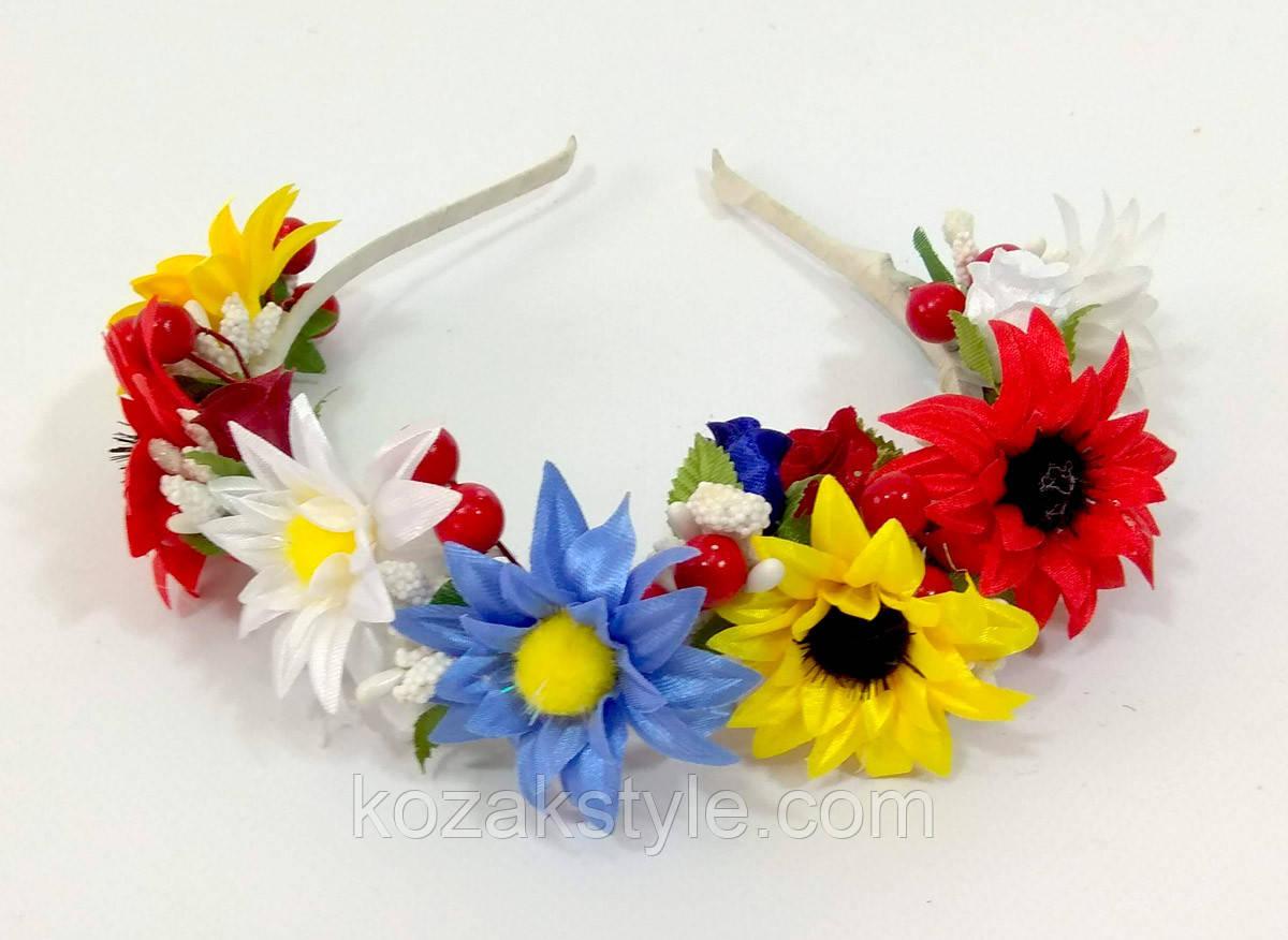 Обруч на голову з польовими квітами