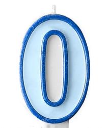 Свеча цифра голубой кант 0