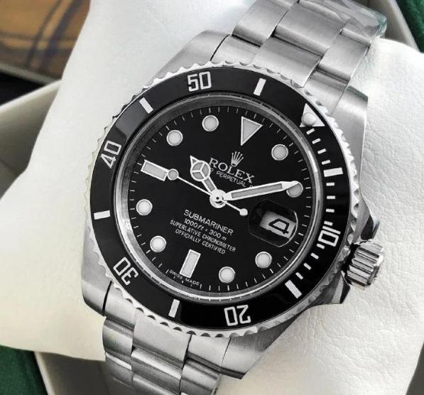 Мужские кварцевые наручные часы Rolex Submariner Silver-Black