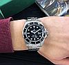 Мужские кварцевые наручные часы Rolex Submariner Silver-Black, фото 4