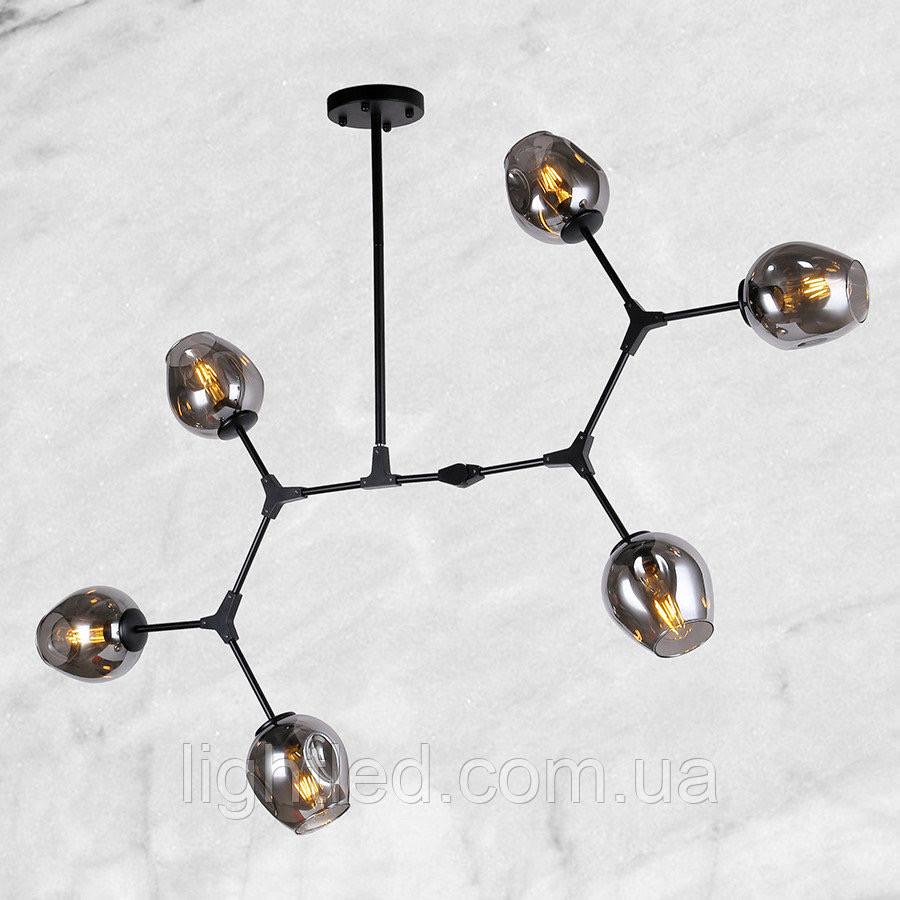 """Чёрная люстра """"6 молекул"""" (56-LPR0231-6 BK) чёрно-прозрачный"""