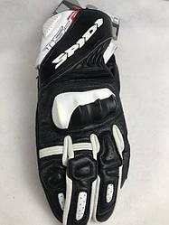 Кожаные мотоперчатки STS-R2 Black/White A205 итальянской маркиSPIDI  размер M