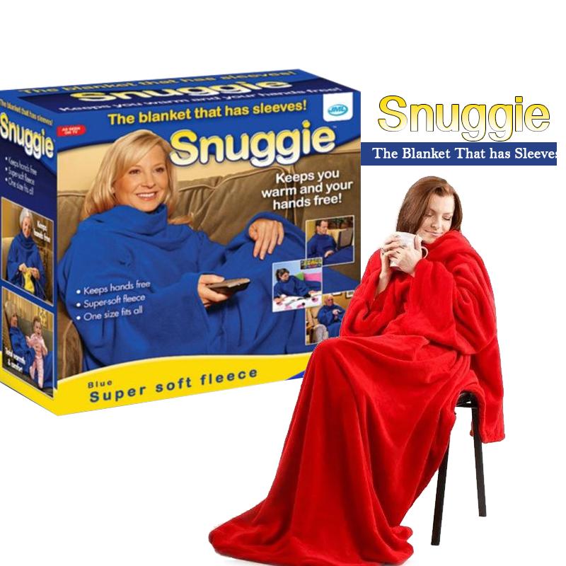 Одеяло-плед с рукавами Snuggle (Снагги) | теплый рукоплед | плед-халат 140х180 Красный