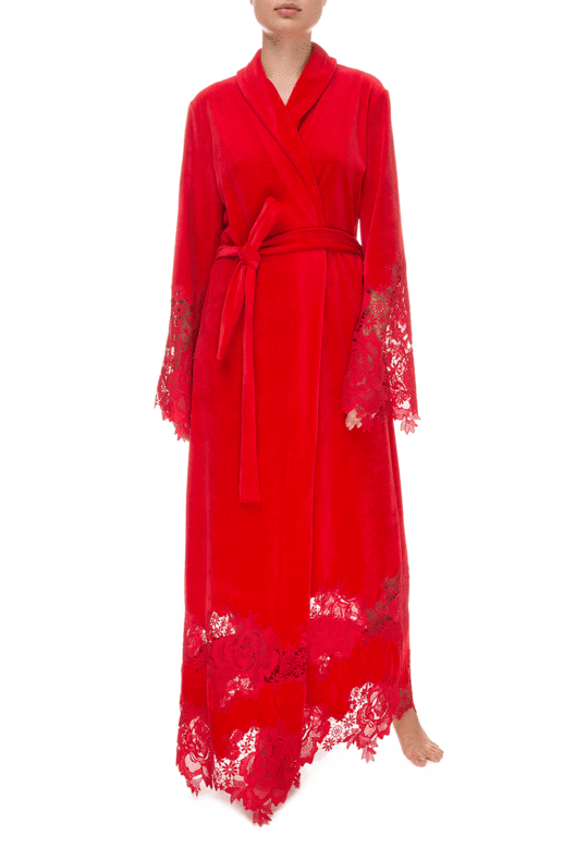 Красный длинный халат Suavite Marielle