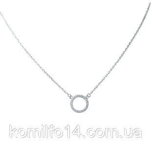 Женское серебряное колье с куб.цирконием