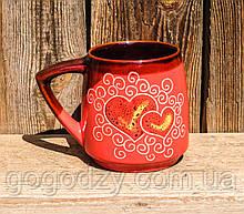 Кухоль 450 мл декор Серце рожевий