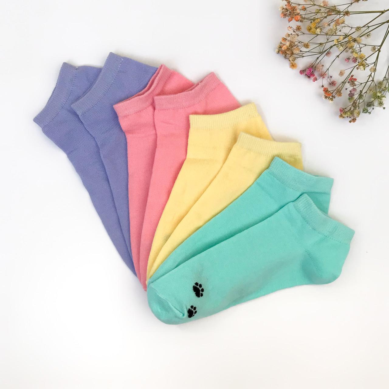 Короткие женские носки  V&T socks с лапками кошечки