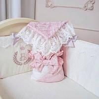 Конверт для Ребенка - De lux резинка с бантом пыльная роза