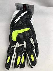 Шкіряні мотоперчатки STS-R2 Black/Fluoresce A205 італійської марки SPІDІ розмір L