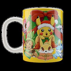 Кружка чашка Покемоны. Merry Christmas
