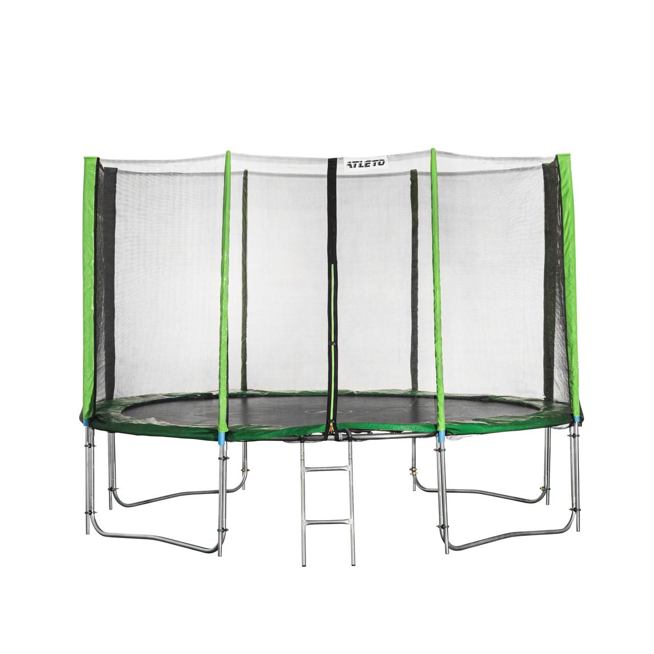 Батут Atleto 374 см с двойными ногами с сеткой зеленый (2 места)