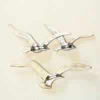 Набор 2х настенный декор Птицы серебро w35см 1014713