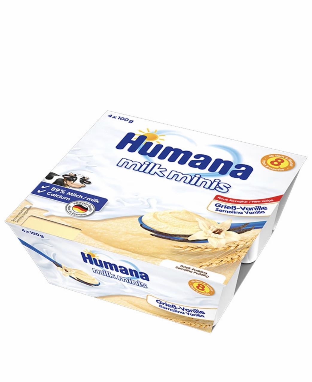 Манний пудинг з ваніллю Humana від 8 міс пластик, 4*100г