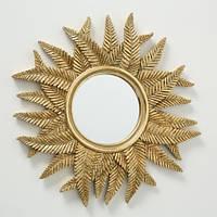Настенный декор Зеркало папоротник золото 35 см 1018445