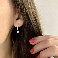 Женские серьги серебряные висячие с камнем