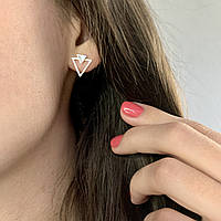 Женские серьги гвоздики треугольники серебряные