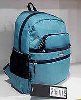 Рюкзак женский маленький тканевый городской бирюзовый с карманами Dolly 376 24х30х15 см