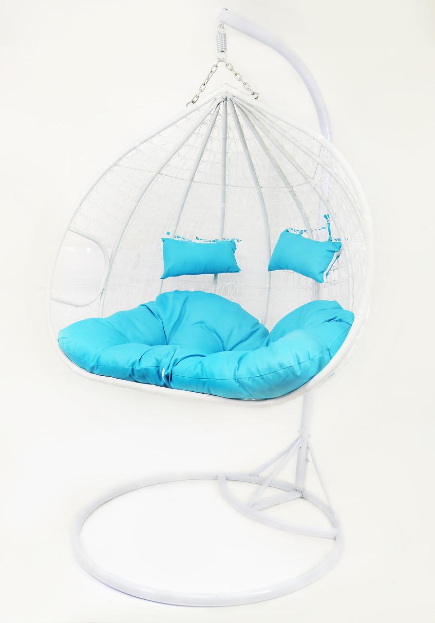 Подвесное кресло-качалка кокон B-183Е (бело-голубое)