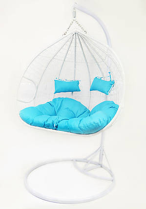 Подвесное кресло-качалка кокон B-183Е (бело-голубое), фото 2