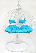 Подвесное кресло-качалка кокон B-183Е (бело-голубое), фото 3