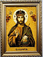 Икона из янтаря Иисус Христос і-30 Господь Вседержитель 20*30