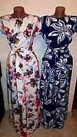 Женское летнее длинное платье, ткань софт, на талии резинка, р.44-46, 48-50, 52-54, 56-58, 62-64 три цвета
