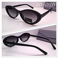 Женские солнцезащитные очки с поляризацией овалы линзы в черной глянцевой оправе